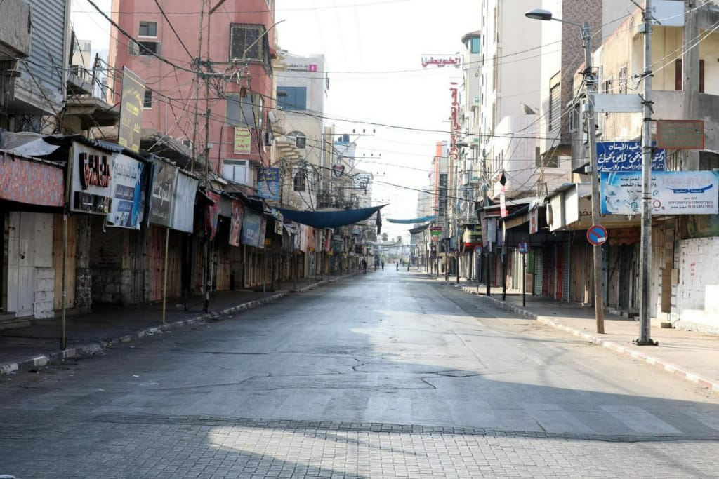 An empty street in Gaza due to curfew