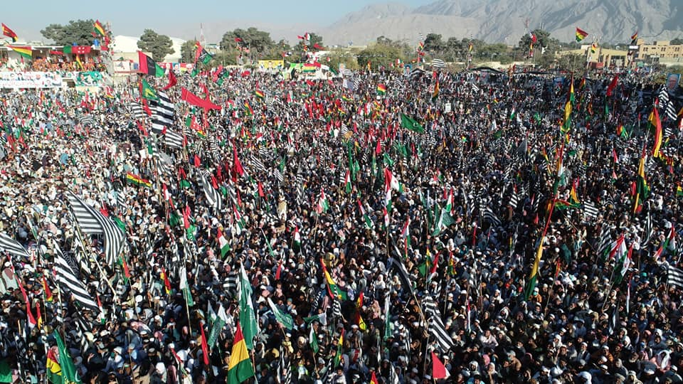 A view of thousands of protesters during Pakistan Democratic Movement's gathering in Quetta, Baluchistan