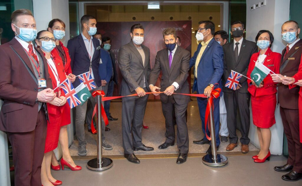 Special Advisor to Prime Minister of Pakistan for overseas Pakistanis  Mr. Zulfi Bukhari and British High Commissioner Mr. Christian Turner receive the first flight of Virgin Atlantic in Pakistan